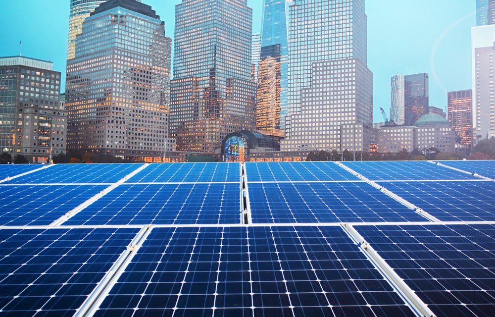 Solar Panels With A View Of A City Commercial Solar Roofing Nashville Music City Solar Solutions 2306 Eugenia Ave Suite A Nashville Tn 37211 (615) 692 1602